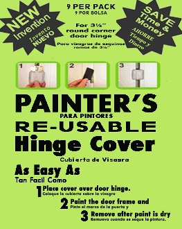 SAVE OVER 80% ON LABOR COST! Great reviews! PAINTERS ORIGINAL RE-USABLE Masking Magnetic Door Hinge Cover. NO MORE Hinge Taping, Re-Taping, Door Removal, Damage, Injuries, Chemicals!Apply covers in 30 seconds! SAME DAY SHIPPING!