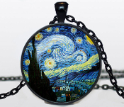 "Handcrafted VAN GOGH NECKLACES Van Gogh Pendants Van Gogh Jewelry. Silver plated necklace pendant diameter is 30 mm, pendant necklace chain is 24"". Box included."