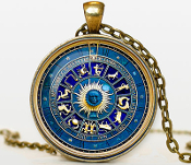 "ZODIAC PENDANT NECKLACE. Bronze pendant diameter is 30 mm. Bronze necklace chain is 24"". Box included."