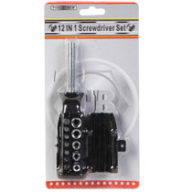 "12in1 Screwdricer Set makes JOB EASY Screwdriver tips 3 different sizes Flathead Phillips Socket Adapter 5 Sockets 5/32"" 3/16"" 1/4"" 9/32"" 5/16"" Snap handle."