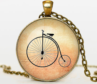 "Handcrafted BICYCLE PENDANT Jewelry. Bronze pendant diameter is 30 mm, bronze necklace chain is 24"". Box included."