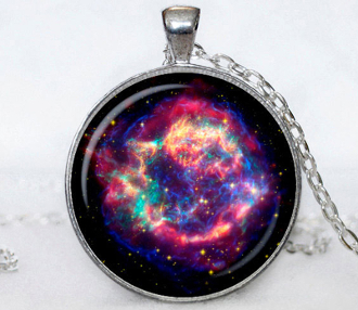"Handcrafted GALAXY PENDANT NECKLACE Jewelry.The silver plated pendant diameter is 30 mm and comes with a silver plated 24"" necklace chain. Box included."
