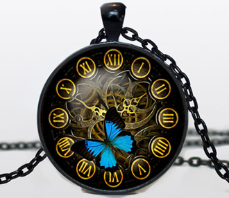 "Handcrafted Steampunk Pendant Necklace. Black pendant diameter is 30 mm and comes with a black 24"" necklace chain. Box included."